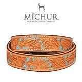 MICHUR Mariano Hundehalsband Leder, Lederhalsband Hund, Halsband, Beige Blau Braun, Leder, mit gestanzten blumigen Mustern, in verschiedenen Größen erhältlich