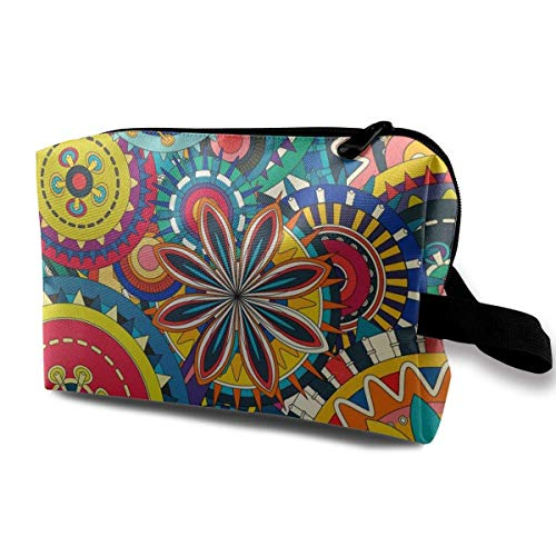 Colorful Floral Gears Travel Storage Bag Cosmetic Bag -