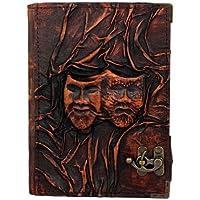 A Little Present 23,2 x 45 cm, con motivo decorativo in rilievo maschere del teatro felice e triste, motivo: maschera, ricaricabile, in pelle, colore: marrone Vintage