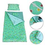 ZITA ELEMENT Puppenbettdecke Bettzeug für 43-46 cm Babypuppen und 17/18 Zoll American Girl Puppen Schlafsack Kopfkissen mit Schlafmaske Puppenbettwäsche(Grün)