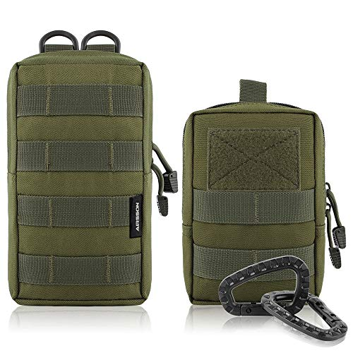 AIRSSON Molle Klein Tasche Taktische Gürtel Tasche Beutel Utility Pouch Wanderausrüstung (Green-Molle Pouch+Waist Bag) -