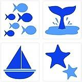PLAGE 260512 Adhesivos de decoración para azulejos Smooth, Mar, 4 Hojas, 14,5 x 14,5 cm
