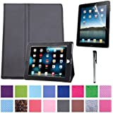HDE® Black Magnetic Folding Cover Case Stand for iPad 1st Generation + Screen Protector + Stylus