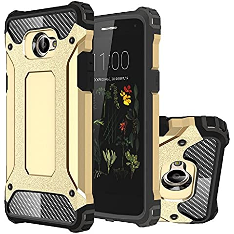 LG K5 Funda, HICASER Híbrida Case [Heavy Duty] Rugged Armor Cover, Dual Layer Shock Resistant Carcasa para LG K5 Dorado