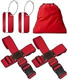 BLACK BISON Koffergurt Kreuz (2er Set) zum sicheren Verschließen der Koffers auf Reisen + GRATIS 2 Gepäckanhänger - 2-Wege-Gepäckgurt / Kofferband verstellbar & rutschfest - Rot