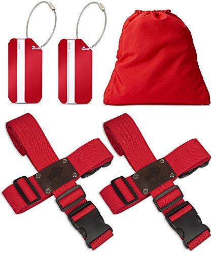 BLACK BISON Koffergurt Kreuz (2er Set) zum sicheren Verschließen der Koffers auf Reisen + GRATIS 2 Kofferanhänger - 2-Wege-Gepäckgurt / Kofferband verstellbar & rutschfest - Rot