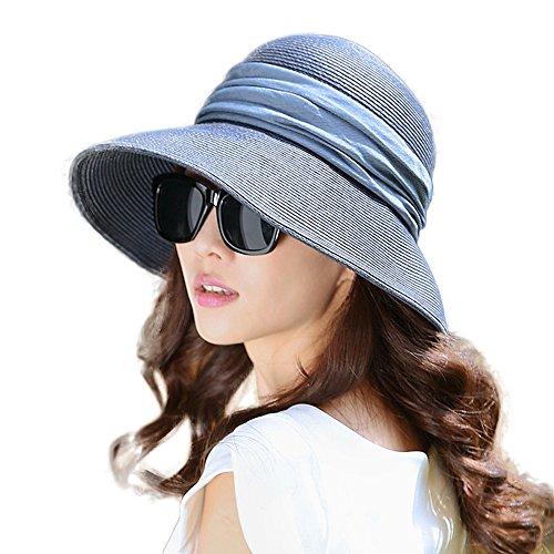 SIGGI klappbarer Sonnenhut dunkelbaluer Sommerhut Sun Shade Hut Sonnenschutz mit für Frauen mit breite Krempe