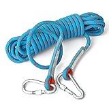 eunicom Seil 10,5 mm Durchmesser Ausrüstung für Outdoor Wandern Zubehör Hohe Festigkeit Kordel Sicherheit Entweichen Klettern Fire Rescue Fallschirm Seil (10 Mio., 32ft) mit 3 PCS Karabine