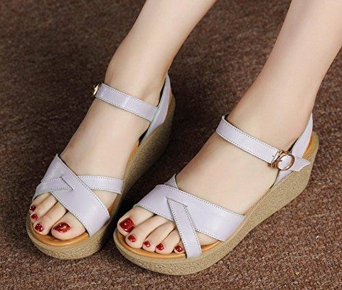 Xing Lin Chaussures DÉté Pour Femmes Pente Avec Des Sandales DÉté Chaussures Confortables En Cuir Épais De Nouveaux Occasionnels Avec Des Sandales À La Fin Purple 6022-1