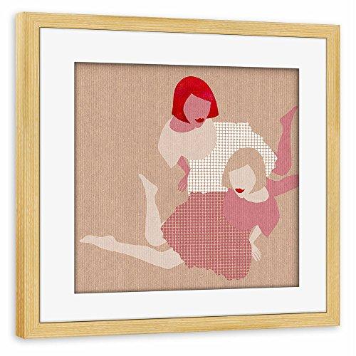 """Preisvergleich Produktbild artboxONE Poster mit Rahmen 20x20 cm Menschen """"Girls"""" beige Gerahmtes Poster kiefer - Wandbild Menschen Kunstdruck von Claudia Voglhuber"""