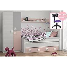 Mobelcenter - Cama Nido con cajones, estantería, armario + silla de REGALO - Color Blanco y Rosa Pastel - Conjunto Dormitorio Infantil Juvenil - SILLA DE REGALO - Envío Gratis