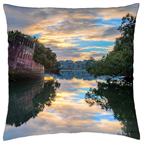Shipwreck Trees on Sunset Waters - Throw Pillow Cover Case (18