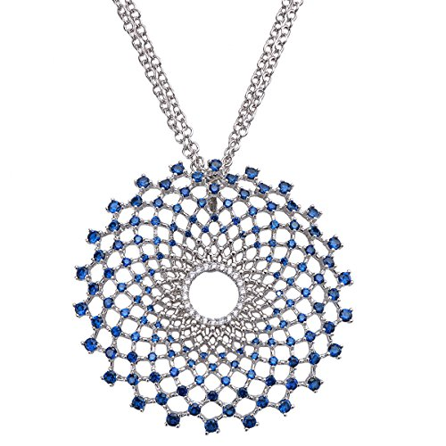 LF inchiostro elegante ombrello blu collana collana moschettone di inviare la sua fidanzata - Argento Nome Blocco Collana