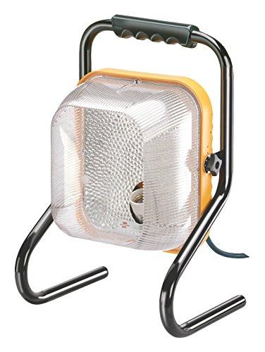 Brennenstuhl Baustrahler Brobusta mit integrierter 3-fach Steckdose / energiesparsamer Außenstrahler (Flutlicht IP44, 5m Kabel, 35 Watt) Farbe: gelb
