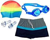 #5: Bloomun Swimming Shorts Swim Trunks for Kids Boy Color Gray, Black & Front Blue Border