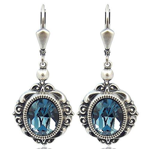 Vintage Ohrringe mit Kristallen von Swarovski® Damen - Silber Viele Farben - NOBEL SCHMUCK (Denim Blue)