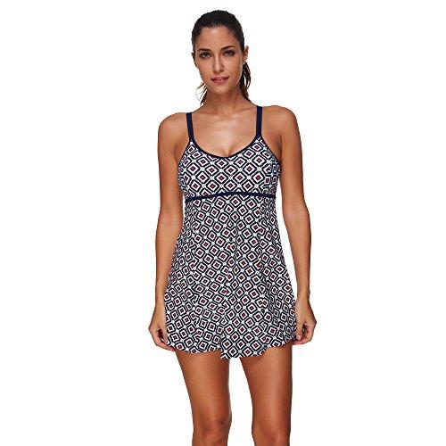 COCO clothing Damen Bedrucktes Zweiteilig Tankini Rock Stil Badeanzug Frauen Spaghetti Träger Swimwear Strandmode Plus Size S - 3XL (Kostüm Kinder Firefly Für)