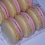 Ilze's Chocolat box of 9 Strawberry and Champagne Macaroons with Real Strawberry Buttercream and Champagne