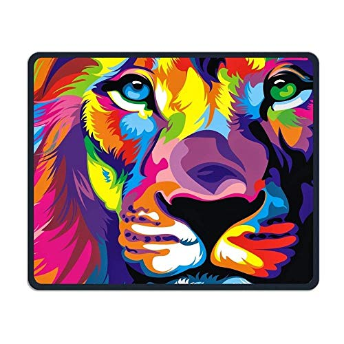 keiwiornb Mouse Pad Lion Big Cat Colorful Logo Rectangle Rubber Mousepad Length 8.66 Width 7.09 Inch Gaming Mouse Pad with Black Lock Edge -