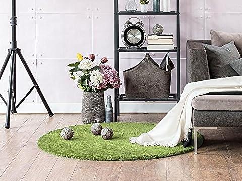 Komfort Shaggy Teppich Happy Wash Grün rund nach Maß / waschbar, trocknergeeignet und pflegeleicht / schadstoffgeprüft, antistatisch, robust, schmutzabweisend / für Wohnzimmer, Schlafzimmer, Bad uvm, Größe Auswählen:80 cm