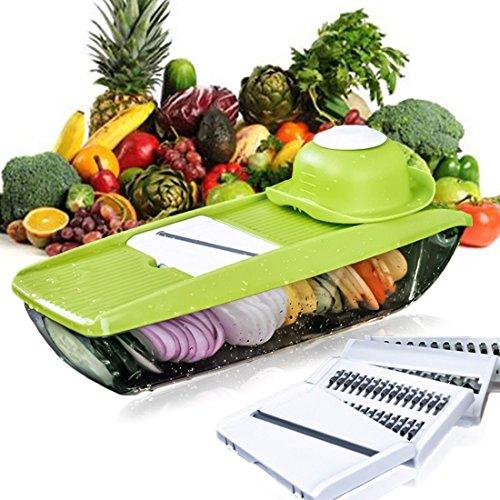 kihappy Mandoline Schneide verstellbar Gemüseschäler Cutter, Chopper, Reibe & Julienne Hobel mit 5Stärke Einstellungen Austauschbare Edelstahl-Klingen