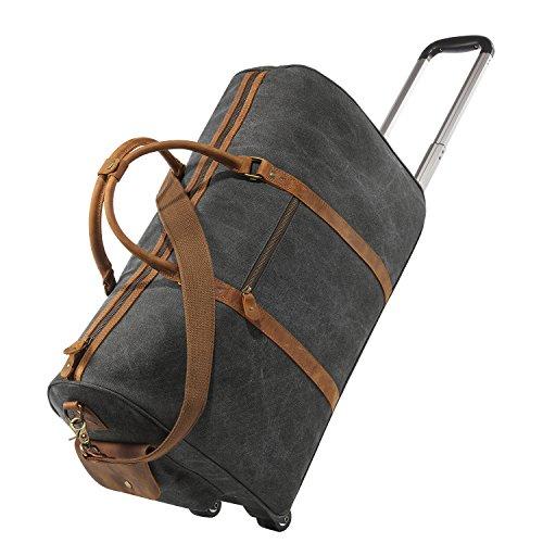 kattee-oversized-canvas-leather-trim-wheeled-duffle-bag-travel-weekend-tote-black