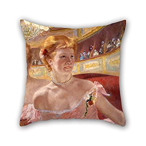 Oil Painting Mary Stevenson Cassatt, American - Woman With A Pearl Necklace In A Loge Throw Pillow Case 18 X 18 Inches / 45 By 45 Cm For Son,dance Room,gril Friend,car,valentine,home With 2 Sides