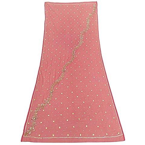 Indian Jahrgang -Dupatta lange Stola Lachs Georgette Hijab Hand wulstige Verpackungs-Schleier