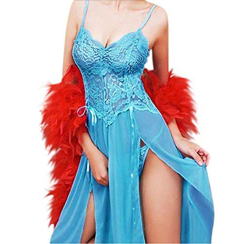 YunYoud Damen erotisch Unterwäsche Einfarbig Harness Nachtwäsche Spitze Perspektive Kleid G-String Versuchung Stickerei Dessous Sets (XXXL, Blau) (Bra 3 Stück Sheer)