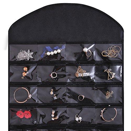 Ezigoo Großer, Doppelseitiger Schmuckhalter Aufbewahrung Schwarz – Ringhalter, Ohrring display - 5