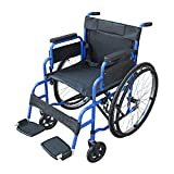 Pandamoto Wheelchair Puncture Resistant Self Propel Folding Portable Propelled Wheel chair With a Free Pump (S1 Blue)
