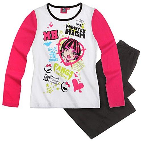Monster High Pyjama 2014 Kollektion 122 128 134 140 146 152 158 164 Schlafanzug Lang Mädchen Nachtwäsche L3 Weiß-Schwarz-Pink (146 - 152)