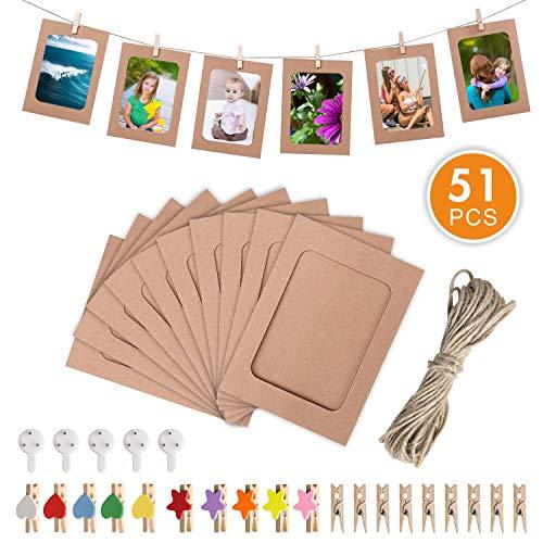 en Fotorahmen aus Kreative Papier Wanddeko DIY mit 10 spurlosen Nägeln Fotoaufhängung und 30 Mini Wäscheklammernund 10 spurlosen Nägeln Fotoaufhängun ()