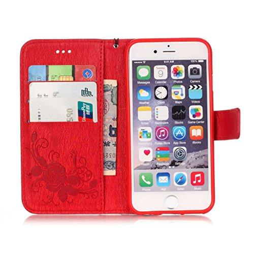 """MYTHOLLOGY Iphone 6 Coque, 4.7"""" Coque pour iphone 6 /iphone 6s, Rétro Gaufré Fleur Bookstyle Étui à rabat Portefeuille Housse Case -Rose Rouge"""