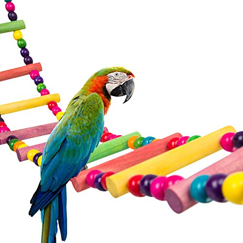 MEWTOGO 1.2 M Colorful Wooden Pet Ladder Bird Toy - 18 Steps Rainbow Hanging Climbing Bridge for Parrot Training (Additional a Swing Toy) (Bird Wooden Ladder)