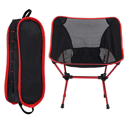 VGEBY1 Chaise de Camping, Chaise à Dos Pliante avec Sac de Transport, pour extérieur/Barbecue/randonnée/Pique-Nique/pêche/Festival(Rouge)