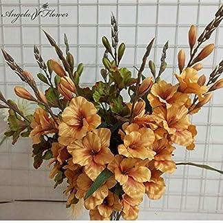 LFJIAH 70cm 7 Cabeza Flor de gladiolo Artificial Planta de orquídea de Seda Espada de otoño orquídea decoración Boda Mesa de Flores Falsas Fiesta de Navidad