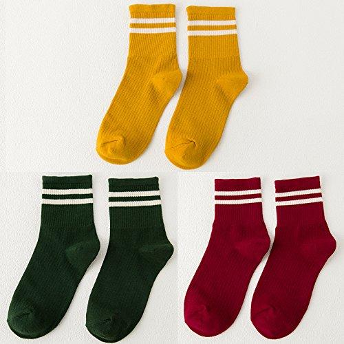 Socken weibliche koreanische Version des Barrel Socken aus reiner Baumwolle socken Herbst und Winter College Baseball Fan, das Licht des Tages der storehouse Socken Socken, alle Codes, die beiden Pole, und Gelb Grün Rot 3 2