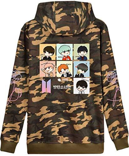OLIPHEE Mädchen Kapuzenpullover Cartoon BTS Warme Jumper für Jungen KPOP Sweatshirt Camouflage M - Camouflage Kinder Pullover