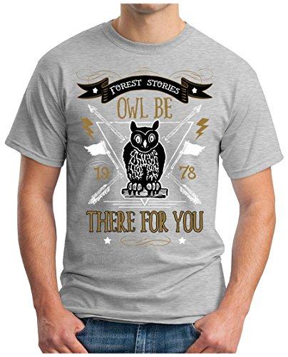 OM3 - VINTAGE-OWL - T-Shirt, S - 5XL Grau Meliert