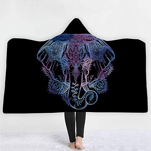 FGVBWE4R Plaid Schädel 3D Gedruckt Plüsch Mit Kapuze Decke für Betten Sofa Schädel Verdicken Warme Tragbare Weiche Fleece Decken-Skull-2,150 * 200cm-850g