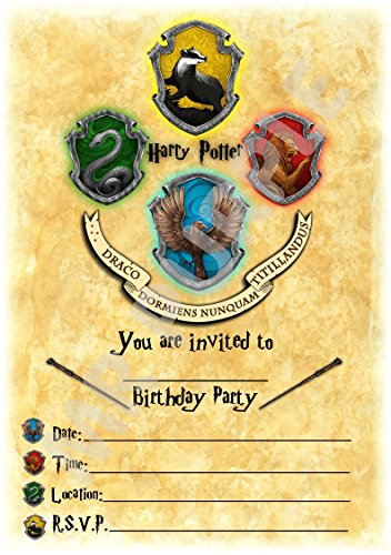 Harry Potter Geburtstag Party lädt - Hogwarts Hochformat Crest Thema Party Supplies/Zubehör (12 Stück A5 Einladungen) WITH Envelopes (Supplies Lego Geburtstags-party)
