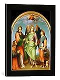 Gerahmtes Bild von Andrea del SartoDer Erzengel Raphael mit Tobias, dem hl. Leonhard und einem Stifter, Kunstdruck im hochwertigen handgefertigten Bilder-Rahmen, 30x40 cm, Schwarz matt