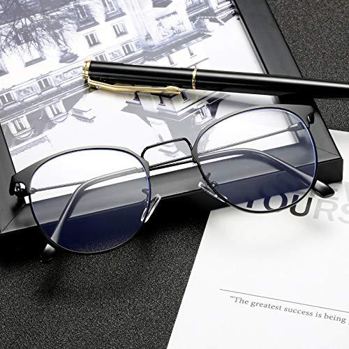 Yangjing-hl Polygon Polygon Marine Anti-Blau Flachspiegel Metall Augenbrauen Rahmen Brillengestell hellschwarz