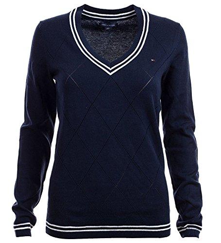 Tommy Hilfiger Pullover, Women's Diamond Knit V-Neck Sweater, Large (Womens V-neck Sweater)