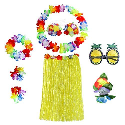 Hibiskus-bikini-top (Mishiner 8 STÜCKE / 1 Satz Hula Rock Kostüm Zubehör Kit für Hawaii Luau Party - Tanzen Hula mit Blume Bikini Top, Hawaiian Lei, Hibiskus Haarspange, Ananas Sonnenbrille für Frauen 80 cm Gelb)