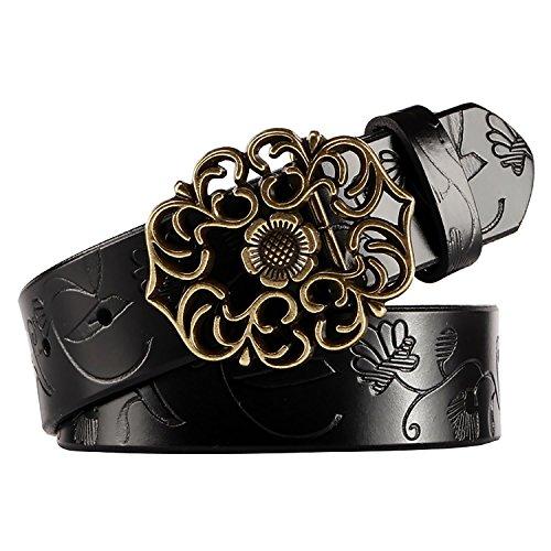 NormCorer Gürtel, florales Muster, ausgeschnittene Schnalle, Western-Stil, für Jeans und Kleid, inkl. Locher - Schwarz - 45.28