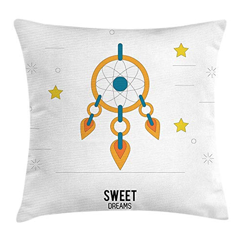 Sweet Dreams Eye Pillow (Sweet Dreams Throw Pillow Cushion Cover, Dream Catcher Design with Stars Stripes Background Night Doodle, Decorative Square Accent Pillow Case, 18 X 18 inches, Orange Yellow Petrol Blue)