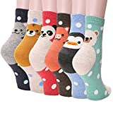 Women's Crew Socks 3-6 Pack by Ksocks, Fun Cool Cats Cartoon Sweet Animal Design Cotton Blend (6 animals)