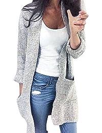Aswinfon Gilet Femme Hiver Manche Longue Tricot Cardigans Pull Casual Col V  avec Boutons Veste Chic ea268c85361e